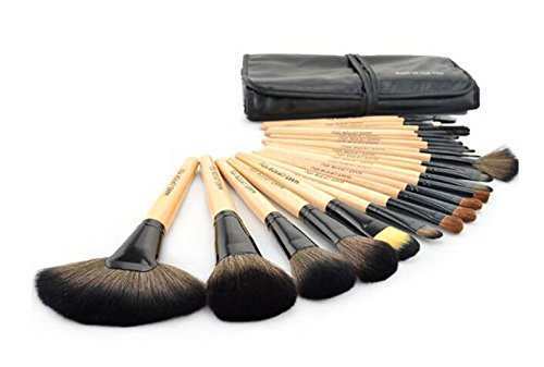 Samyo Makeup Brushes Affordable Cosmetic Makeup Brush Set Soft Synthetic Hair Easy to Clean-soft Carrying Case Bamboo Handle-nice Gift (Black; 24 Pcs)