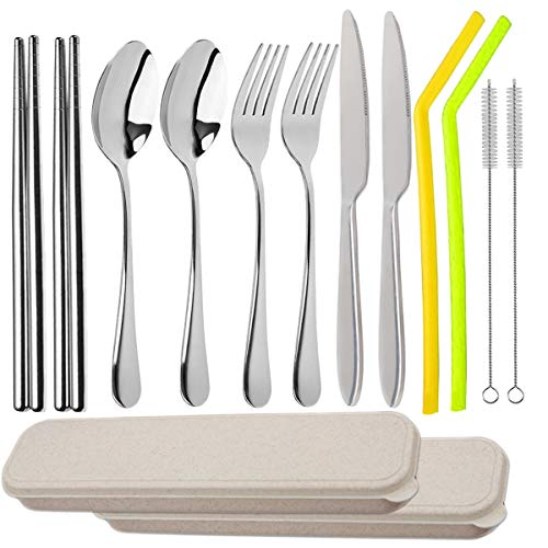 Travel Utensils with Case 5pcs -10pcs, Knife Forks Spoon Chopsticks with a Durable Case-Stainless Steel Portable Camping Cutlery Set