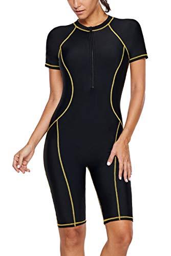 - GLUDEAR Women Plus Size Color Block Zip Front Wetsuit One Piece Swimsuits Racing Rash Guards,XXL