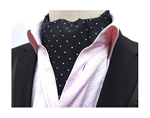 (Men's Black and White Self Cravat Tie Polka Dot Designer Dress Ascot for Father's Day)