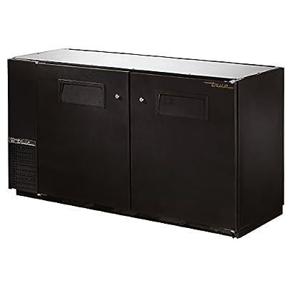 "True TBB-24GAL-60 Back Bar Cooler 60"" 2 Section 2 Black Solid Doors"