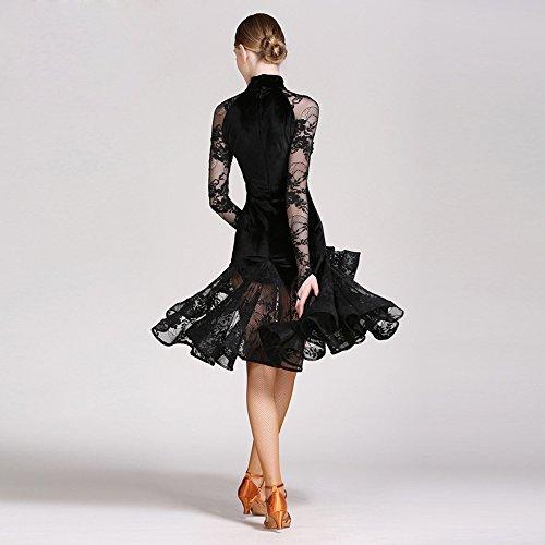 Péndulo Black Falda Moderna Terciopelo De Danza Baile Moderno Tango Vestido Competencia Encaje Larga Gran Traje Manga Y Señora Vals Ztxy wRxqC41q