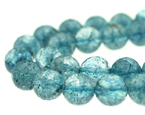 GoodBead 10mm Ocean Blue Topaz Quartz Round Faceted Beads 15.5