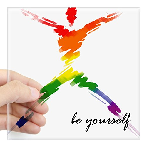CafePress Gay Pride Be Yourself Rectangle Sticker Square Bumper Sticker Car Decal, 3