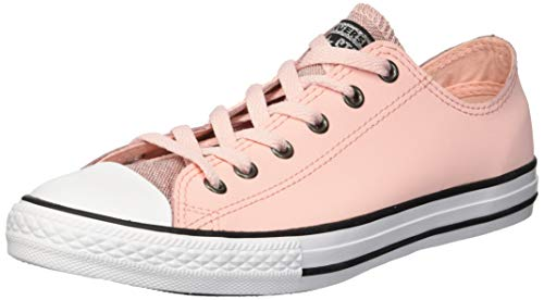 Converse Girls' Chuck Taylor All Star Glitter Leather Low Top Sneaker Storm Pink/Black/White 12 M US Little Kid