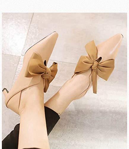 Yukun zapatos de tacón alto Zapatos De Moda Solo Temperamento De La Moda Zapatos Individuales Acentuados Boca Profunda Tacón De Aguja Zapatos Elegantes Apricot