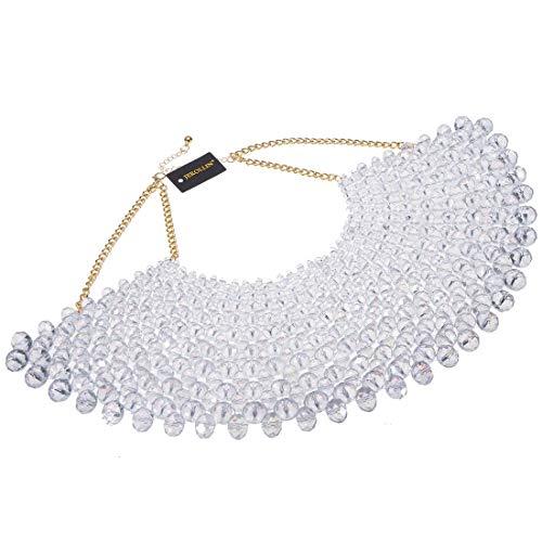 Fashion Jewelry Chain Crystal Beads Charm Choker Chunky Statement Bib Necklace (Silver)