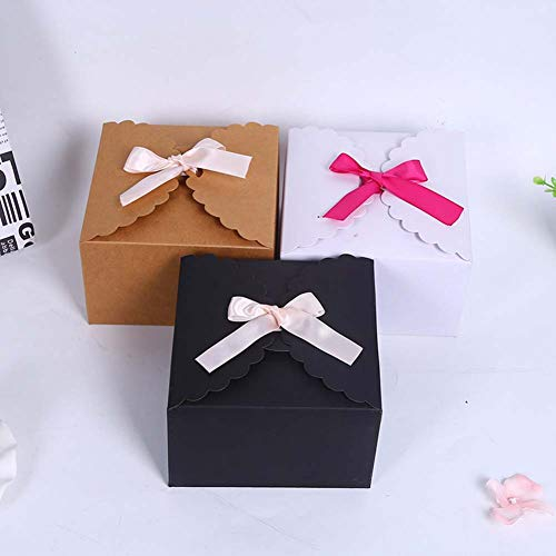 SHHS 9Pcs Minimalist Candy Packaging Box(3black&3white&3brown), Blank Gift Wrap Boxes Wedding/Birthday Party, Decorative Presents Bags Bundle for Packing Baking Biscuits/Cookie/Candy/Choc