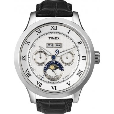 Timex SL Series Automatic Leather Strap White Dial Men's watch #T2N294, Watch Central