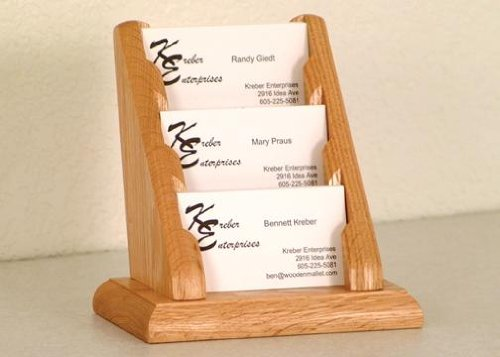 Oak Holder Card Business - Wooden Mallet Desktop BCC1-3 Three-Pocket Oak Business Card Holder in Light Oak