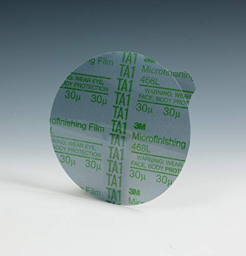 3M Microfinishing PSA Film Disc 468L, 5 in x NH, 15 Micron, Type E, Die 500X ()