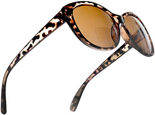 Reader Sunglasses for Women Bifocal Sunreaders Cateye Oversized Reading Glasses Brown Tortoise Rx ()