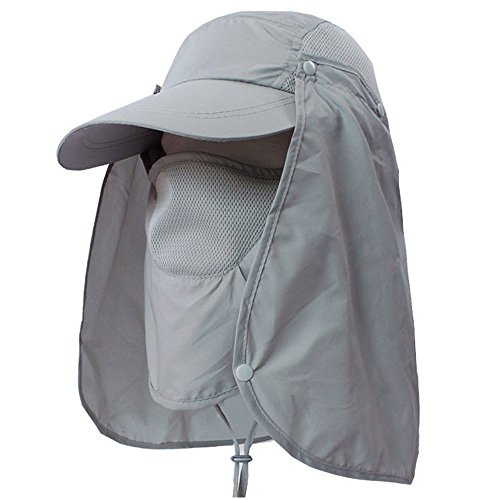 LC-dolida Fishing Hat 360°UV Protection Sun Hat, UPF 50+ Summer Men Women Sun Visor Cap Folding Removable Neck Face Mask Head Flap Cover for Hiking Gardening Beach Camping Boating Outdoor Activities