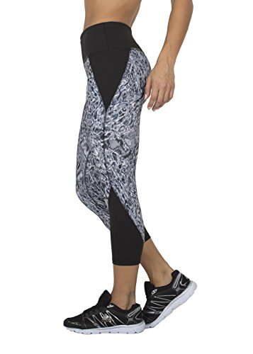 RBX Active womens Rave Wash Splice Capri Length Leggings,Black Acid Wash,Large (Mustache Spandex Sheer Pantyhose)