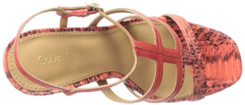 Calvin Klein Womens Valene Platform Dress Sandal Deep Coral 1p2B9D