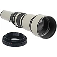 650-1300mm f/8-16 Manual Focus Telephoto Zoom Lens (White) For Nikon D3000, D3100, D3200, D3300, D5000, D5100, D5200, D5300, D5500, D7000, D7100, D7200, DF, D3, D3S, D3X, D4, D40, D40x, D50, D60, D70, D70s, D80, D90, D100, D200, D300, D600, D610, D700, D750, D800, D800E, D810 Digital SLR Camera