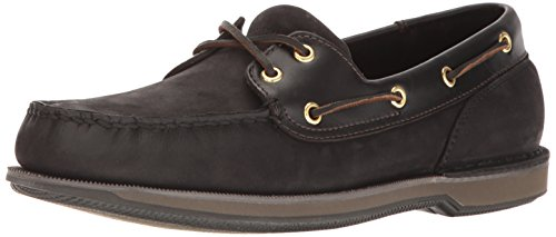 Rockport Men's Perth Boat Shoe,Black/Bark,9.5 M US - Mens 5 Eye Padded Collar