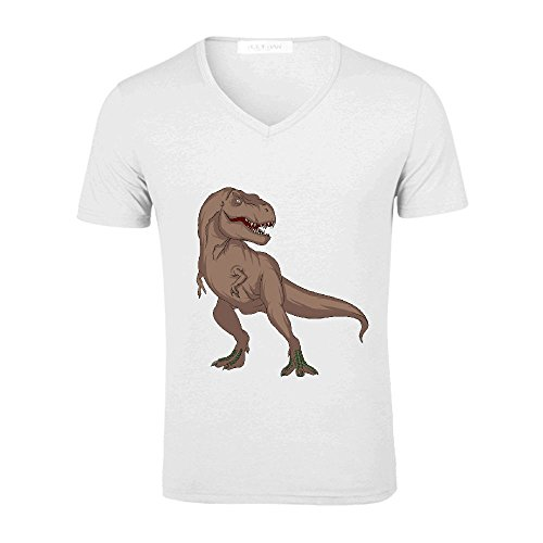 chas-tyrannosaurus-cute-mens-v-neck-graphic-t-shirt-white