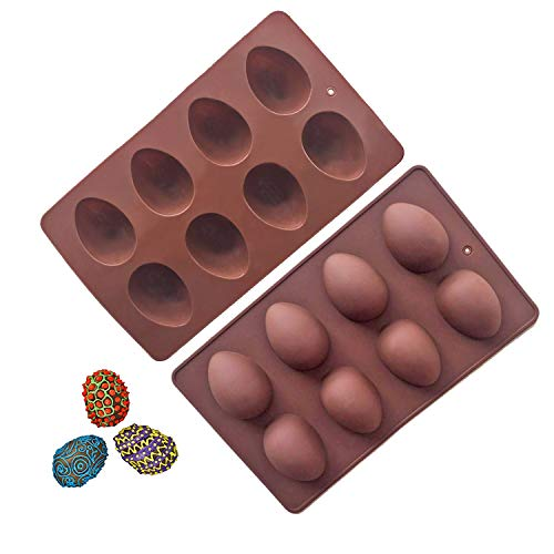 (Megrocle 8 Cavity Silicone Egg Molds Set of 2, Food Grade Silicone Mold for Cake Decorating, Chocolate Mold, Candy Mold, Ice Cube Trays, Muffin Truffle Mold and More Bread Baking)