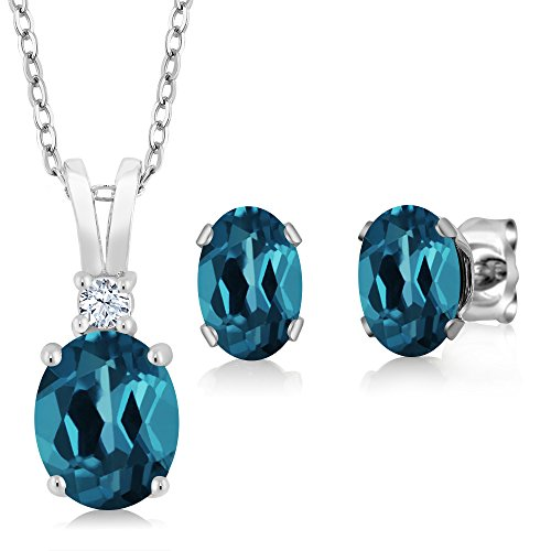 - Gem Stone King London Blue Topaz 925 Sterling Silver Gemstone Birthstone Pendant Earrings Set 3.15 Cttw Oval with 18 Inch Silver Chain
