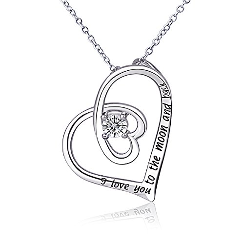 "Sterling Silver ""I LOVE YOU TO THE MOON AND BACK"" Heart Pendant Necklace 18 inch"