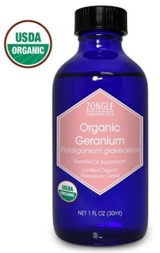 Zongle USDA Certified Organic Geranium Essential Oil, Safe to Ingest, Pelargonium Graveolens, 1 oz