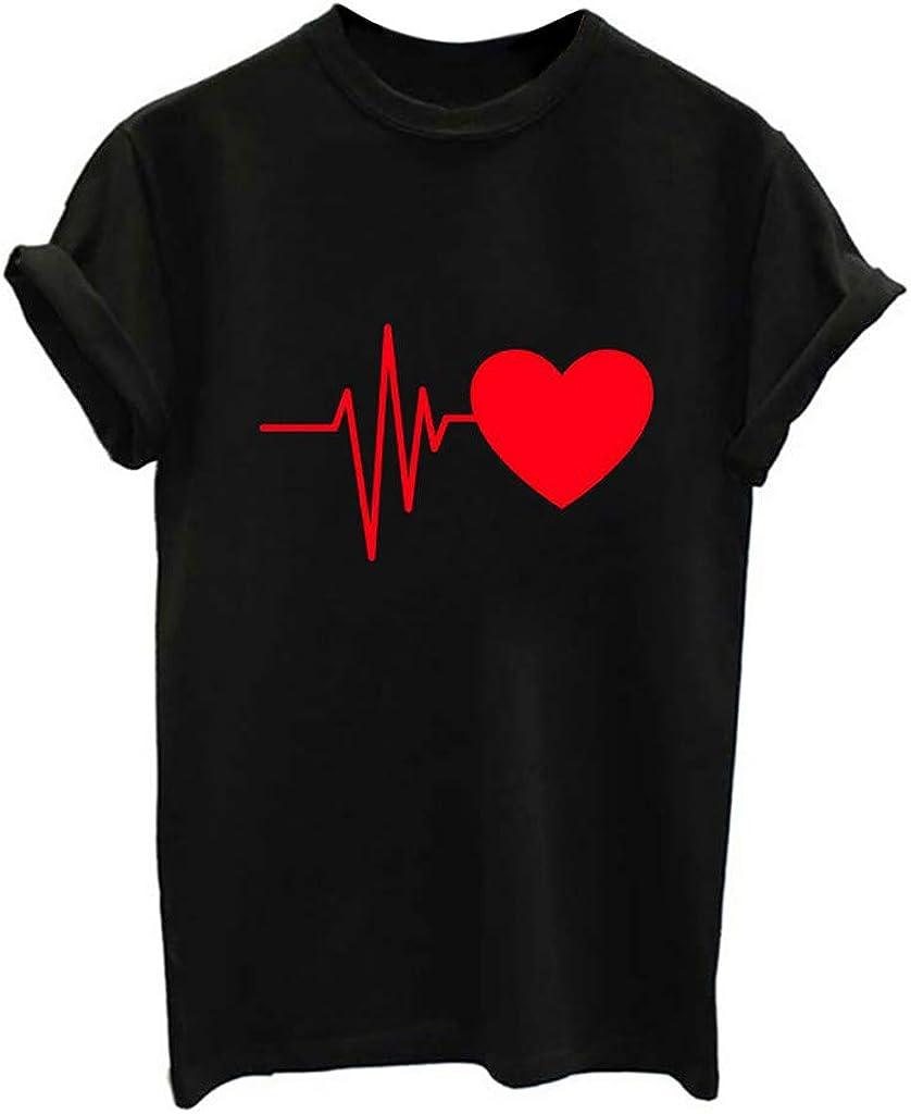 LANSKIRT Camisetas Mujer Manga Corta 2020 con Coraz/ón y Letra Imprimir Blusas y Camisas de Mujer Elegante Camisa Basica Verano Tops Casual T-Shirt Original Tallas Grandes Polos Jersey