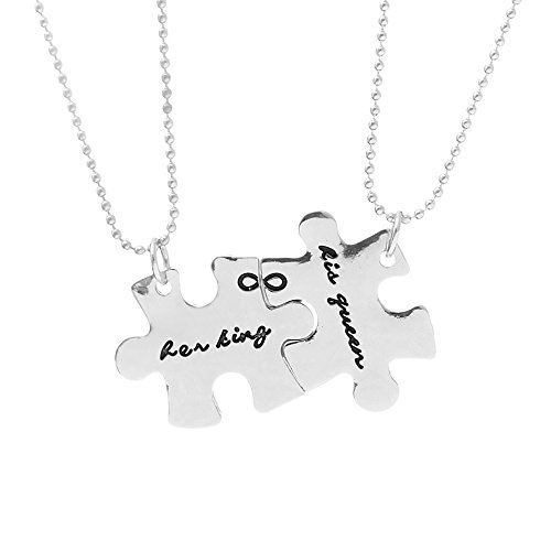 Meiligo Retro 2 Pcs Couples His Queen and Her King Letter Puzzle Dog Tag Necklace Key Chain Square Matching Engraved Heart Letter Necklace - Necklace Engraved Heart Tag