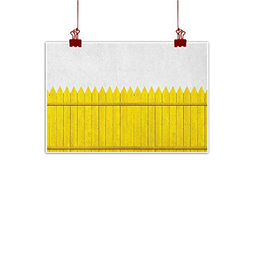 Decorative Music Urban Graffiti Art Print Yellow,Colorful Wooden Picket Fence Design Suburban Community Rural Parts of Country, Yellow Mustard 24