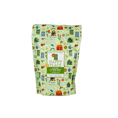 (Happy Place Sweet Grass Goat Milk Laundry Soap - Resealable Bags-45 Loads)