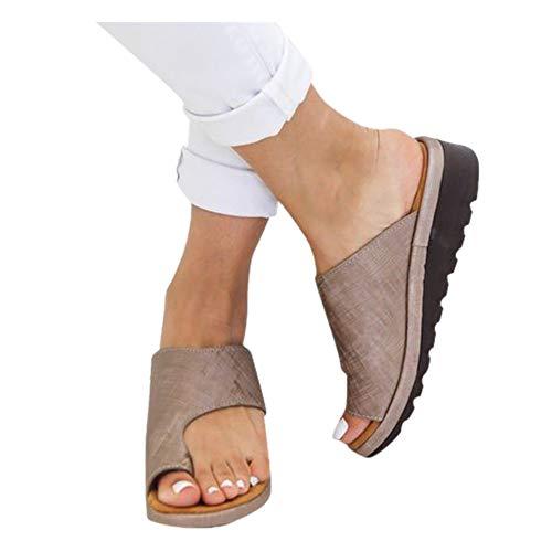 (Womens Flip Flop Sandal Fashion Platform Wedge Open Toe Beach Travel Slide Shoes Flats Roman Slipper (Brown -5, EU:41/US:8.0))