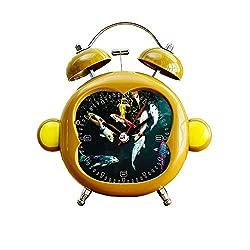 GIRLSIGHT1 Children's Room Monkey Style Silent Alarm Clock Twin Bell Mute Alarm Clock Quartz Analog Bedside and Desk Clock with Nightlight- 007. heresyourpizza Pets pet koi Fish