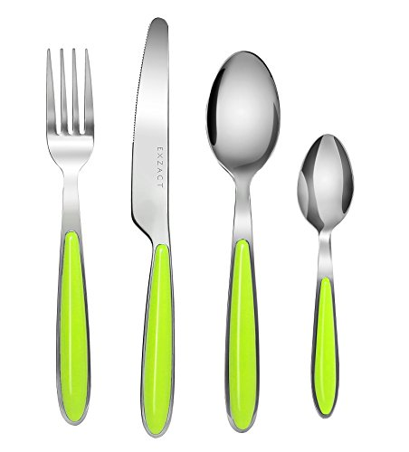 Handle Cutlery - Exzact EX07 - 24 pcs Cutlery Flatware Set - Stainless Steel With Color Handles - 6 Forks, 6 Dinner Knives, 6 Dinner Spoons, 6 Teaspoons (Green x 24)