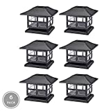 NOMA Solar Post Lights   Waterproof Outdoor Cap Lights for 4 x 4 Wooden or Vinyl Posts, Deck, Patio, Garden, Décor or Fence   Warm White LED Lights, 6-Pack