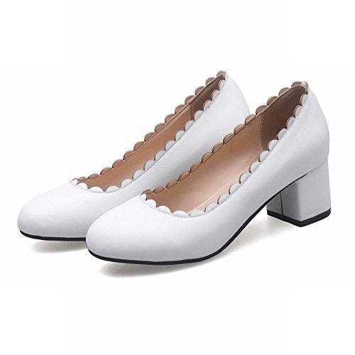 Mee Shoes Damen mit Borte chunky heels runde Pumps Weiß