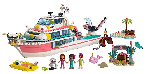 LEGO Friends Rescue Mission Boat 41381 Toy Boat Building Kit with Mini Dolls and Toy Sea Creatures, Rescue Playset includes Narwhal Figure, Treasure Box and more for Creative Play (908 Pieces)