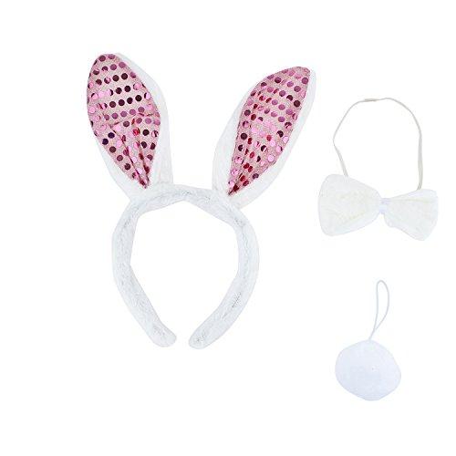Bunnies In Halloween Costumes (Lux Accessories Adult Easter Bunny Animal Halloween Costume Accessory Set 3pc)