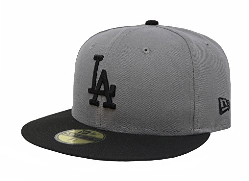 (New Era 59Fifty MLB Basic Los Angeles Dodgers Gray/Black Fitted Headwear Cap (7)