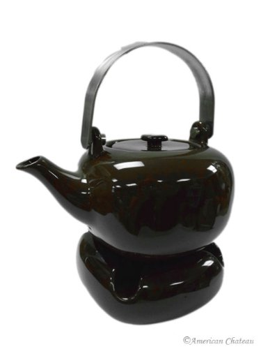 Modern Tea Warmer Candle Porcelain & Brown Teapot with Infuser Pot Strainer (Tea Pot With Candle Warmer compare prices)