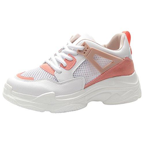 Montante Padgene Mode Rose Compensées Sneakers Casuel Femme Chaussures Baskets Toile Tennis rwrxqHC