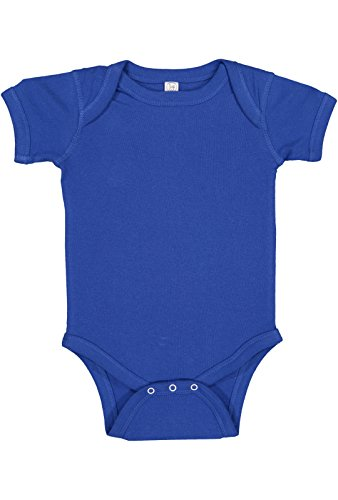 Rabbit Skins Infant 100% Cotton Baby Rib Lap Shoulder Short Sleeve Bodysuit (Royal, 18 Months)