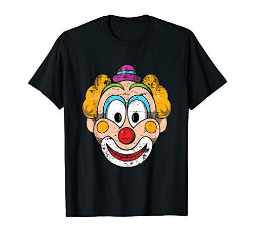 Circus Clown Face T-Shirt Distressed Big Eyes Tee Shirt ()