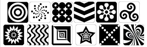 Black & White Newborn Patterns Repositionable Removable Decals - Infant Brain Stimulation - Perfect Baby Shower Gift - 12 Decals (Baby Wall White Decal)