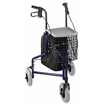 Amazon.com: 3 ruedas andador y bandeja, azul andador W/bolsa ...
