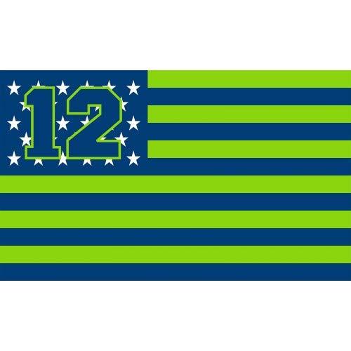 Seattle Seahawks Stars and Stripes NFL Flag Banner - 3X5 FT - 12 USA Flag