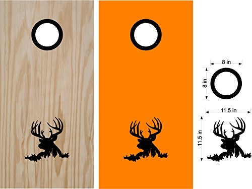 Buck Deer Hunting Cornhole Board Decals Stickers - Bean Bag Toss - Vinyl Stickers - Comes With Rings - Bean Baggo Decals - 07