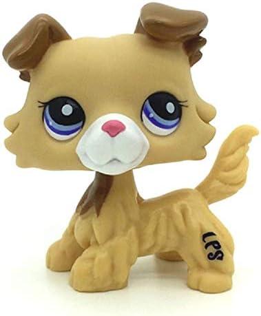 N//N Littlest Pet Shop LPS Toy Rare Collie Dog Puppy Yellow Tan Brown Blue Eyes
