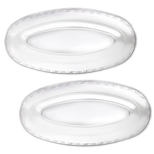 Oval Plastic Serving Tray - Party Essentials N207105 Hard Plastic Oval Serving Trays, 20.75