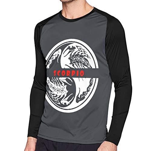 Crazy Popo Men's Casual Zodiac Facts Scorpio Long Reglan T-Shirt Tunics Tops