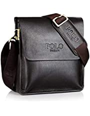 "POLO FEILUN Classic Vintage Genuine Leather Men's Briefcase Business Bag Composite Casual Shoulder Messenger Satchel Bags for Everday use 9""(L) x10.6(H) x 2.7""(W) (Brown)"